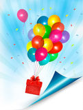 Holiday background with colorful balloons and gift. Box. Vector Royalty Free Illustration