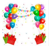 Holiday background with colorful balloons and gift. Boxes. Vector Royalty Free Illustration