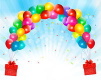 Holiday background with colorful balloons and gift Stock Image