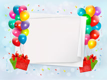 Holiday background with colorful balloons and gift Royalty Free Stock Photo