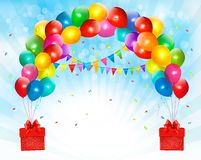 Holiday background with colorful balloons and gift boxes. Vector Stock Illustration