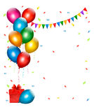 Holiday background with colorful balloons and gift. Boxes. Vector Stock Illustration