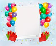 Holiday background with colorful balloons and gift. Boxes. Vector illustration Stock Illustration