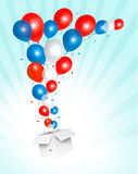 Holiday background with colorful balloons and open. Box. Vector Royalty Free Illustration