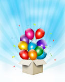 Holiday background with colorful balloons and open. Gift box. Vector Stock Illustration
