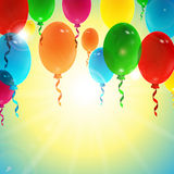 Holiday background with colorful balloons. With place for your text Royalty Free Stock Photo