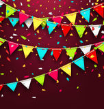 Holiday Background with Colorful Bunting and Confetti Royalty Free Stock Photography