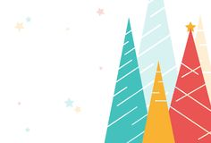 Holiday background with colorful Christmas trees and stars on white layout. Template for greeting card, banner, cover or backdrop royalty free illustration