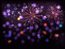 Holiday background with colorful fireworks. Happy  Royalty Free Stock Photo