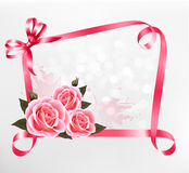 Holiday background. Colorful flowers with pink bow Stock Photography