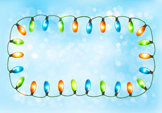 Holiday background with colorful garland Stock Photos