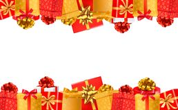 Holiday background with colorful gift boxes with bows. Royalty Free Stock Photos