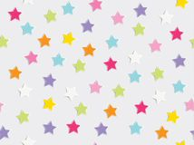 Holiday background with colorful star confetti scatter on white background. Seamless patern vector illustration stock photography