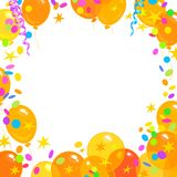 Balloons, confetti, serpentine frame with place for text. Holiday background. Holiday background. Colorfull yellow, red and orange balloons, confetti, serpentine Stock Photography