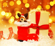 Holiday background with cute Santa boot decoration Royalty Free Stock Photo