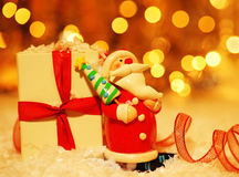 Holiday background with cute Santa decoration Stock Photo