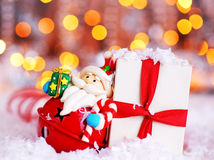 Holiday background with cute Santa decoration Royalty Free Stock Photography