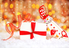Holiday background with cute snowman Stock Photos