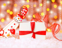 Holiday background with cute snowman Stock Image