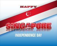 Celebration of Independence day in Singapore. Holiday background with 3d texts, crescent moon facing a pentagon of five stars and national flag colors for ninth stock illustration