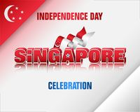 Singapore, National days, celebration. Holiday background with 3d texts, crescent moon facing a pentagon of five stars and national flag colors for ninth of royalty free illustration