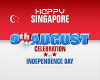 Ninth August, Singapore National day. Holiday background with 3d texts, crescent moon facing a pentagon of five stars and national flag colors for ninth of royalty free illustration