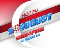 Ninth August, National day of Republic of Singapore. Holiday background with 3d texts and national flag colors for ninth of August, Singapore Independence day vector illustration