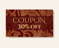 Gift coupon, gift card discount, gift voucher with floral scroll, swirl gold swirl pattern  Stock Images