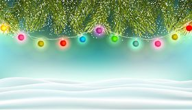 Holiday background with fir branches and colorful lights royalty free stock photo