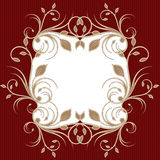 Holiday background with flourish frame on red, greeting card Royalty Free Stock Photography