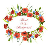 Holiday background with flowers and oval label. Stock Image