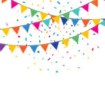 Holiday background with garland and confetti. Holiday background with Bunting and garland. Colorful festive flags and confetti Stock Images