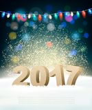 Holiday background with 2017 and garland. stock illustration