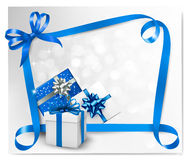 Holiday background with gift bows  Stock Images