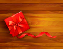 Holiday background with gift box. And red bow. Vector illustration Stock Images
