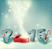 Holiday background with a gift box and 2015. Stock Images