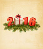 Holiday background with gift box and 2016. Stock Photos