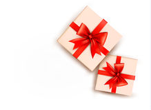 Holiday background with gift boxes Stock Photos
