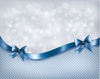 Holiday background with gift glossy bow and ribbon Royalty Free Stock Photos