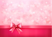 Holiday background with gift pink bow and ribbon Stock Photos