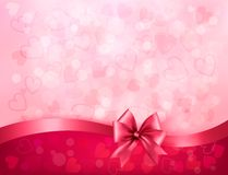 Holiday background with gift pink bow and ribbon. Stock Photo
