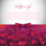 Holiday background with gift pink bow and ribbon. Valentines Day. Vector.  Royalty Free Stock Photography