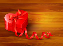 Holiday background with gift red box  Royalty Free Stock Photo