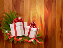 Holiday background with gift ribbon with gift box Stock Photos