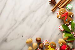 Holiday background with gingerbread Stock Photos