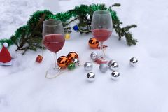 Holiday background with glass of red wine.Christmas decoration set. Stock Photography
