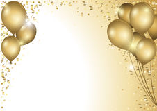 Holiday Background With Gold Balloons Stock Photos
