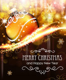 Holiday background with golden Christmas ball. Abstract holiday background with sparkles, snowflakes and golden Christmas ball Stock Images