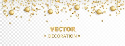Holiday background.  golden garland border, frame. Hanging baubles, streamers, falling confetti. Holiday background.  golden garland border, frame. Hanging Stock Image