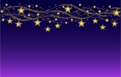 Holiday background, golden stars border. Golden waves and stars on blue and violet background. Christmas background, vector stock illustration